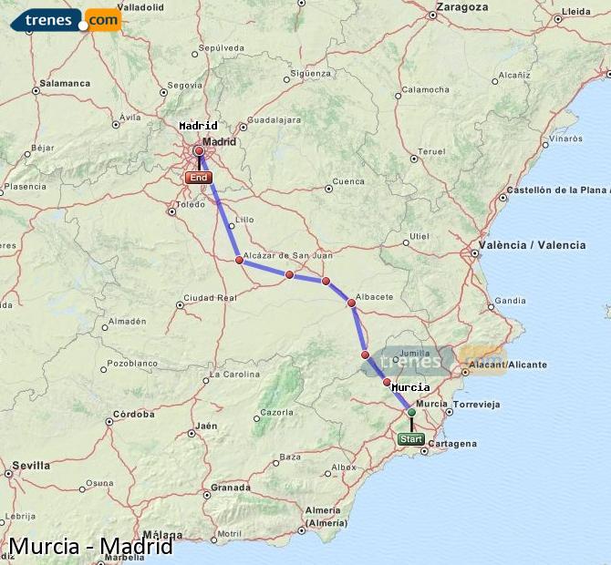 Ampliar mapa Trenes Murcia Madrid