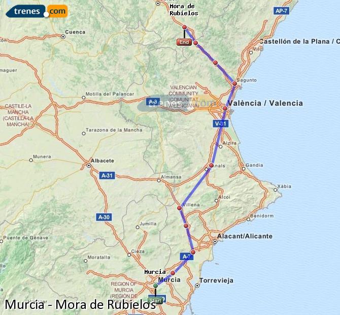 Enlarge map Trains Murcia to Mora de Rubielos