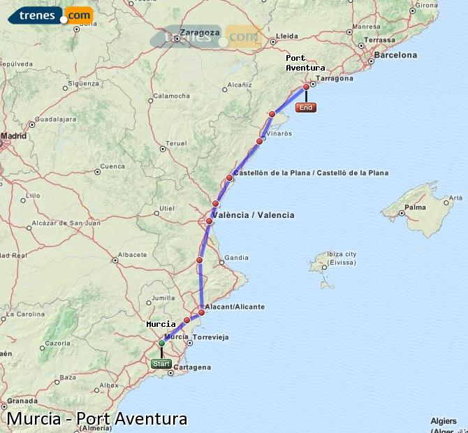 Karte vergrößern Züge Murcia Port Aventura
