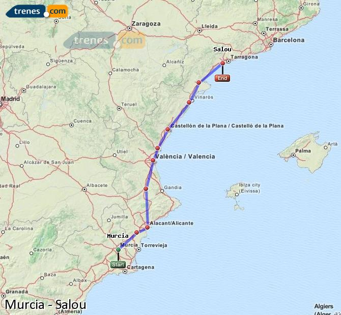 Enlarge map Trains Murcia to Salou