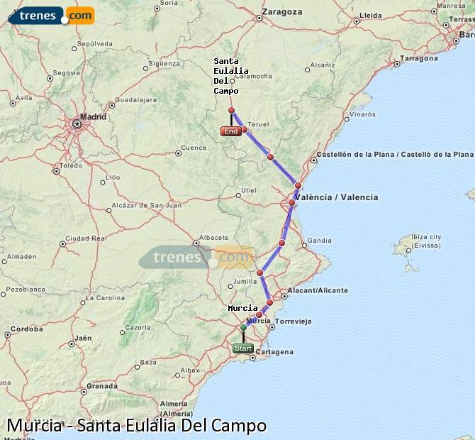 Agrandir la carte Trains Murcia Santa Eulalia Del Campo
