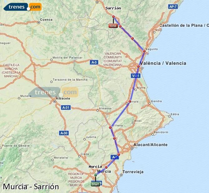 Ingrandisci la mappa Treni Murcia Sarrión