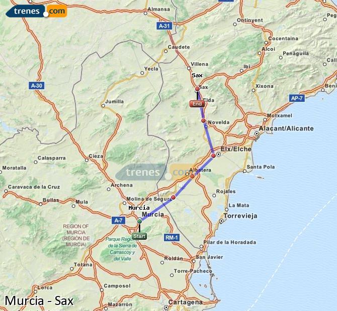 Agrandir la carte Trains Murcia Sax