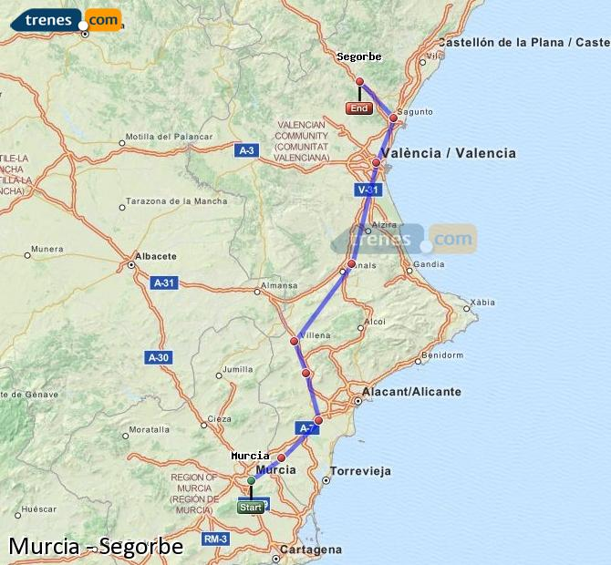 Agrandir la carte Trains Murcia Segorbe