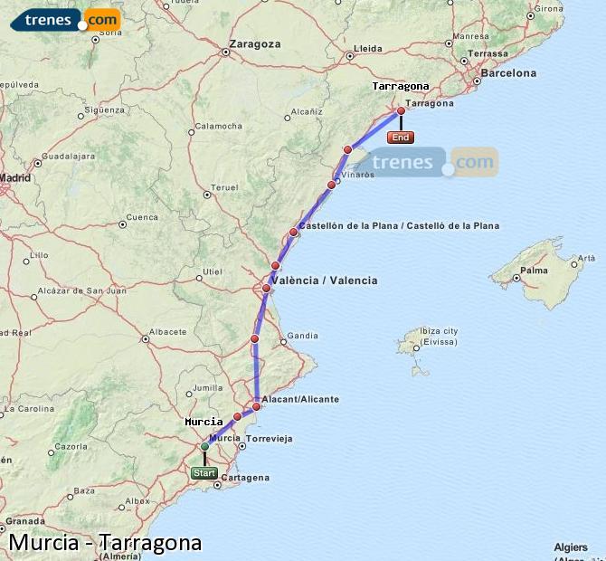 Agrandir la carte Trains Murcia Tarragone