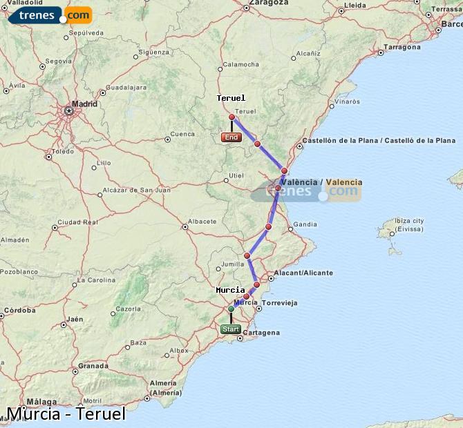 Ampliar mapa Trenes Murcia Teruel