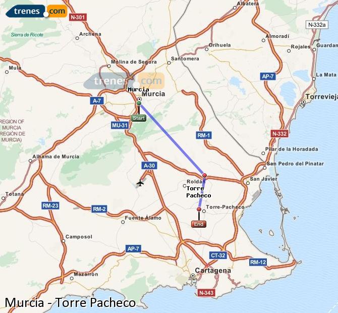 Ingrandisci la mappa Treni Murcia Torre Pacheco
