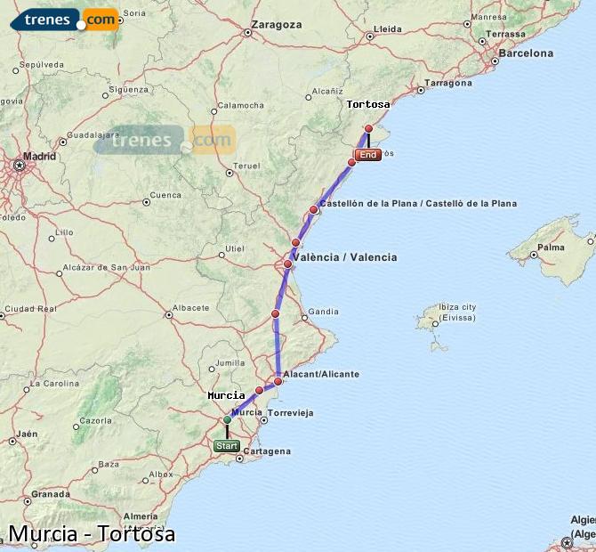 Enlarge map Trains Murcia to Tortosa