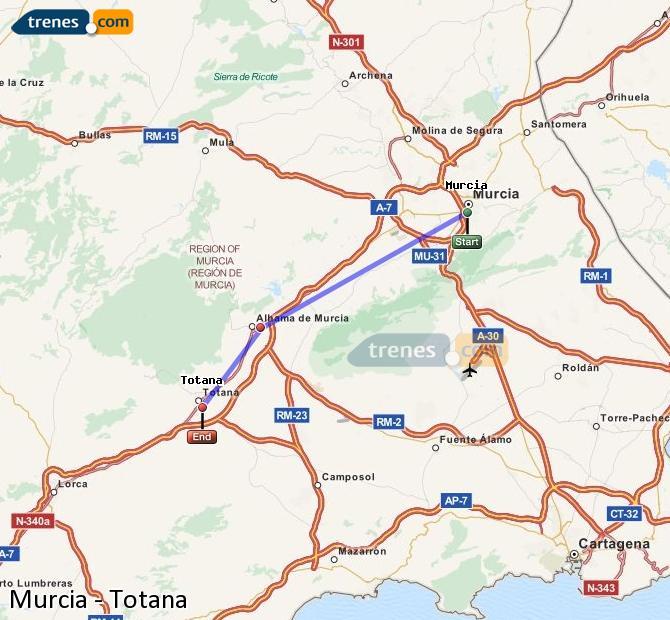 Enlarge map Trains Murcia to Totana