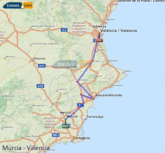 Enlarge map Trains Murcia to Valencia