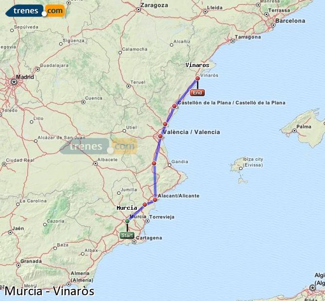 Ingrandisci la mappa Treni Murcia Vinaròs