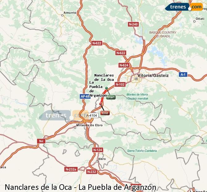 Enlarge map Trains Nanclares de la Oca to La Puebla de Arganzón