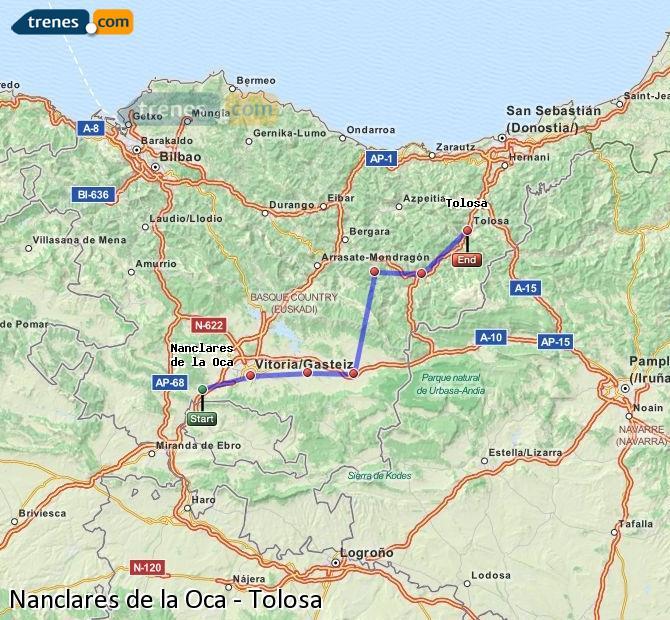 Ingrandisci la mappa Treni Nanclares de la Oca Tolosa