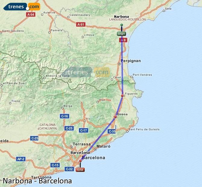 Karte vergrößern Züge Narbona Barcelona