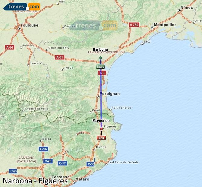 Enlarge map Trains Narbonne to Figueres