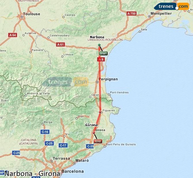 Ingrandisci la mappa Treni Narbona Girona