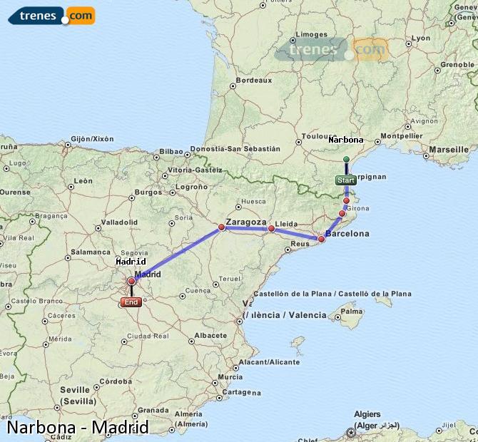 Ampliar mapa Trenes Narbona Madrid