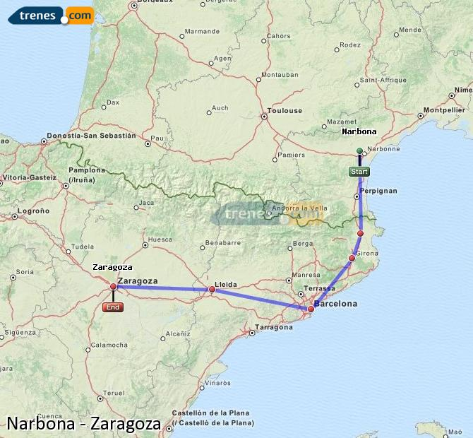 Ingrandisci la mappa Treni Narbona Zaragoza
