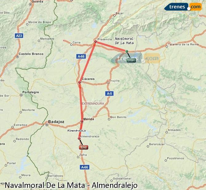 Enlarge map Trains Navalmoral De La Mata to Almendralejo