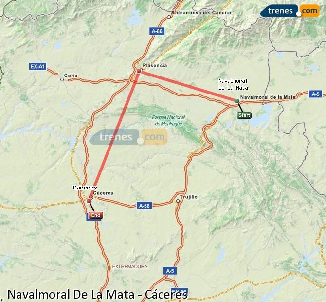 Agrandir la carte Trains Navalmoral De La Mata Cáceres
