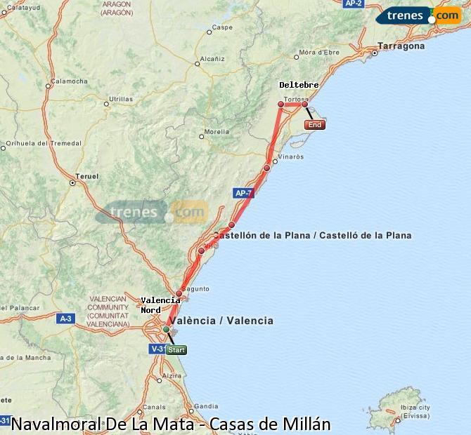Agrandir la carte Trains Navalmoral De La Mata Casas de Millán