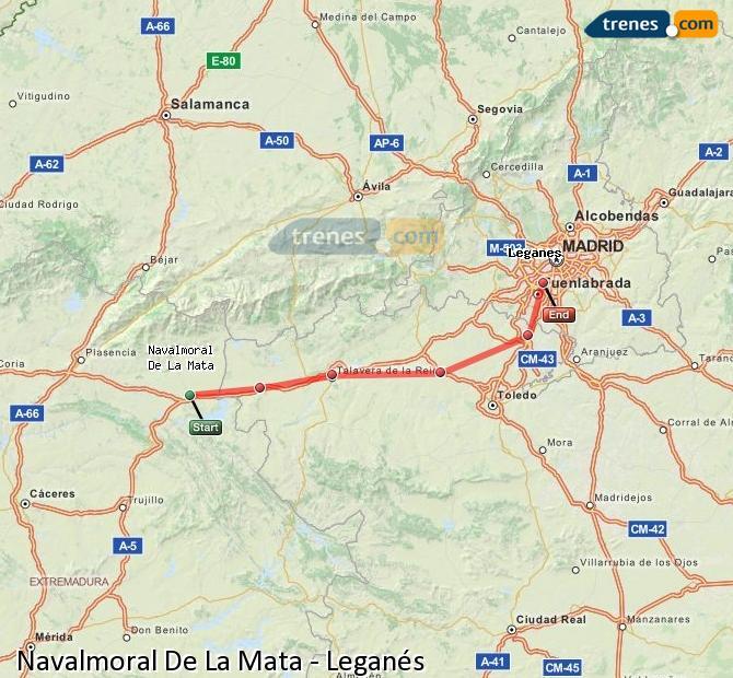 Agrandir la carte Trains Navalmoral De La Mata Leganés