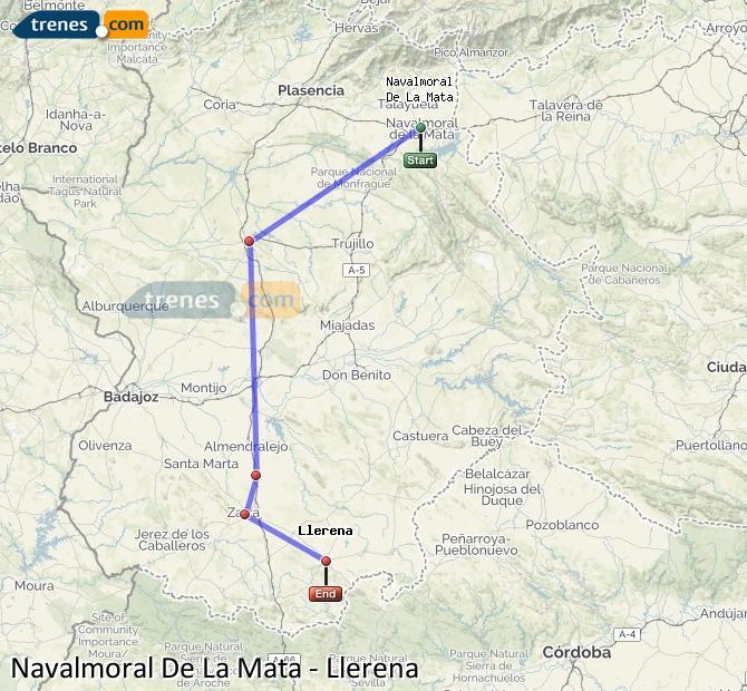 Agrandir la carte Trains Navalmoral De La Mata Llerena