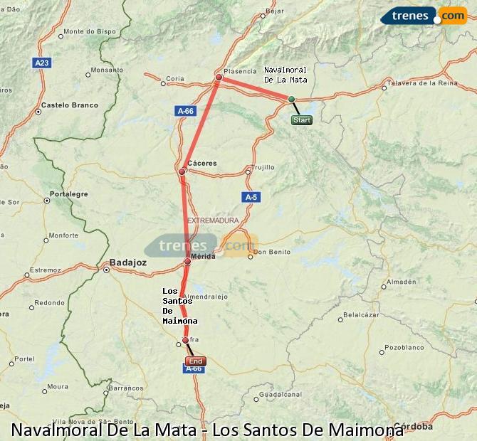 Enlarge map Trains Navalmoral De La Mata to Los Santos De Maimona