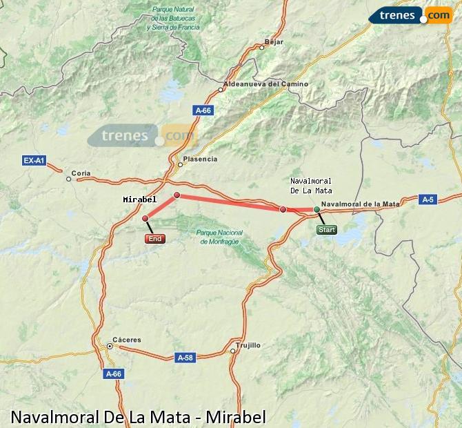 Agrandir la carte Trains Navalmoral De La Mata Mirabel