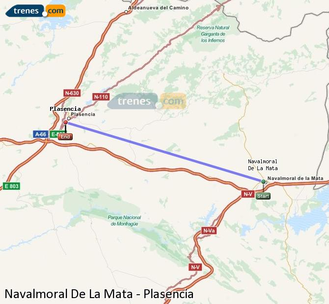 Enlarge map Trains Navalmoral De La Mata to Plasencia