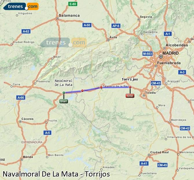 Agrandir la carte Trains Navalmoral De La Mata Torrijos