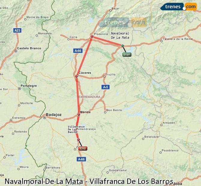 Ingrandisci la mappa Treni Navalmoral De La Mata Villafranca De Los Barros