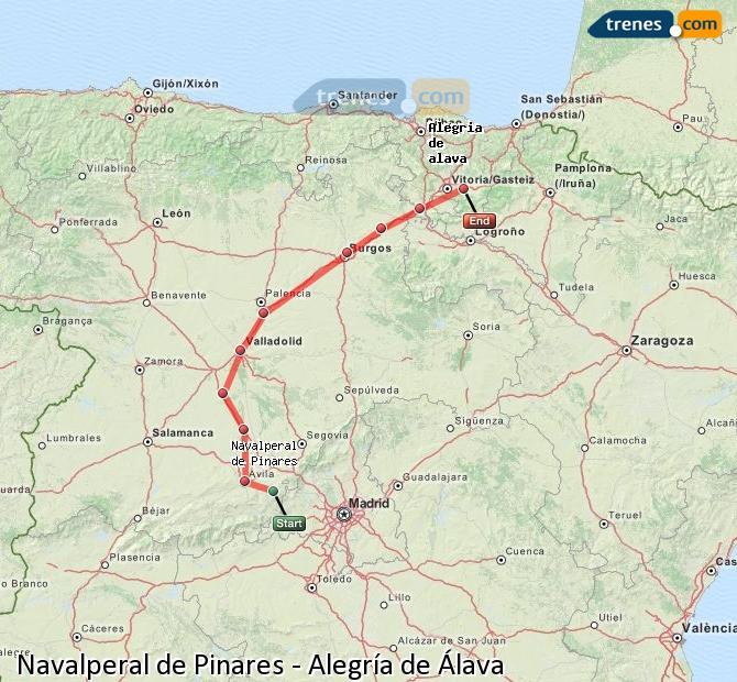 Agrandir la carte Trains Navalperal de Pinares Alegría de Álava