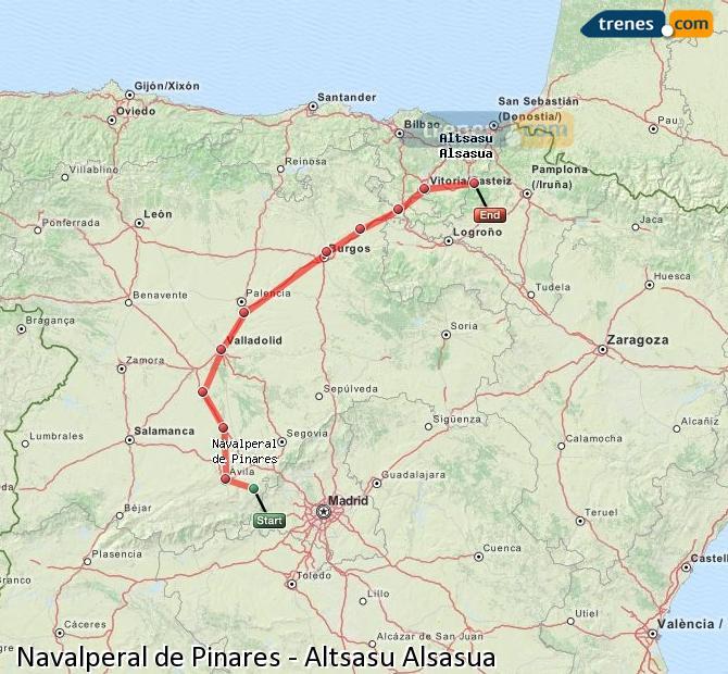 Agrandir la carte Trains Navalperal de Pinares Altsasu Alsasua