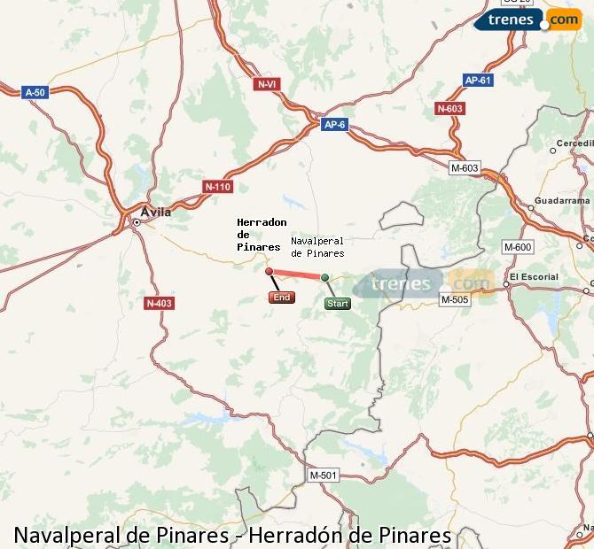 Ingrandisci la mappa Treni Navalperal de Pinares Herradón de Pinares
