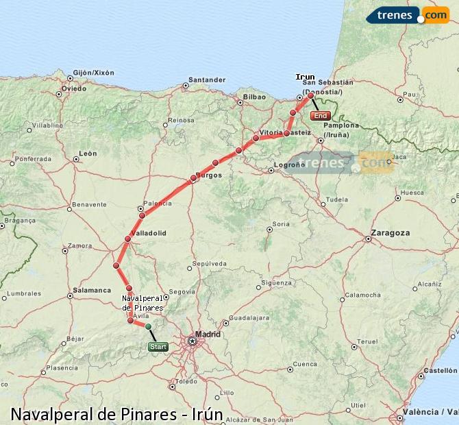 Karte vergrößern Züge Navalperal de Pinares Irún