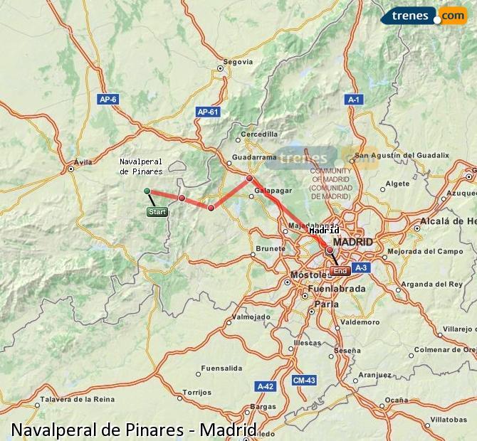 Karte vergrößern Züge Navalperal de Pinares Madrid