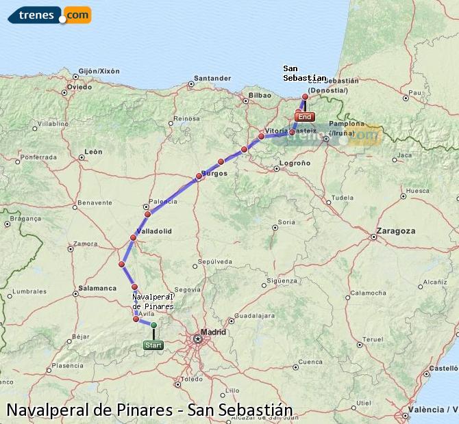 Karte vergrößern Züge Navalperal de Pinares San Sebastián