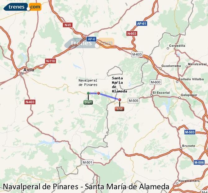 Karte vergrößern Züge Navalperal de Pinares Santa María de Alameda
