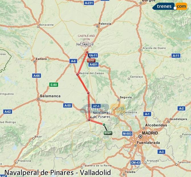 Enlarge map Trains Navalperal de Pinares to Valladolid