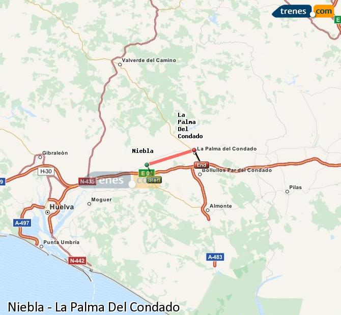 Karte vergrößern Züge Niebla La Palma Del Condado