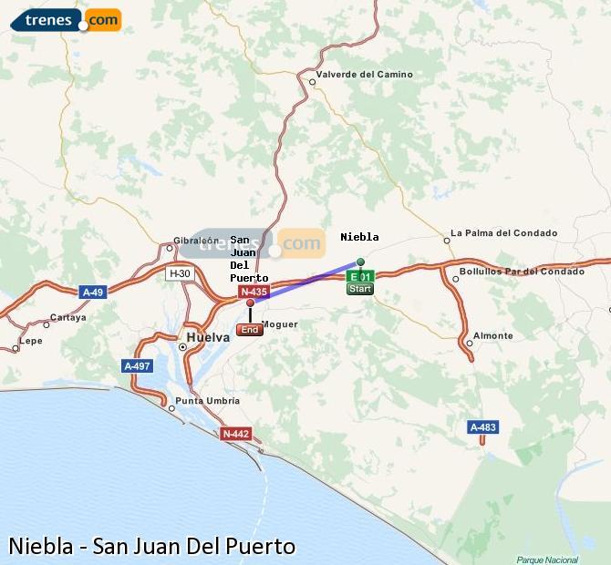 Ampliar mapa Trenes Niebla San Juan Del Puerto