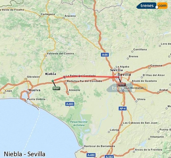 Karte vergrößern Züge Niebla Sevilla