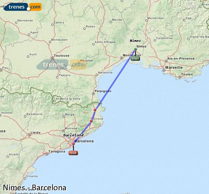 Enlarge map Trains Nimes to Barcelona
