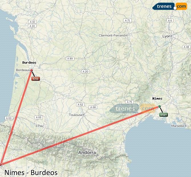 Agrandir la carte Trains Nimes Bordeaux