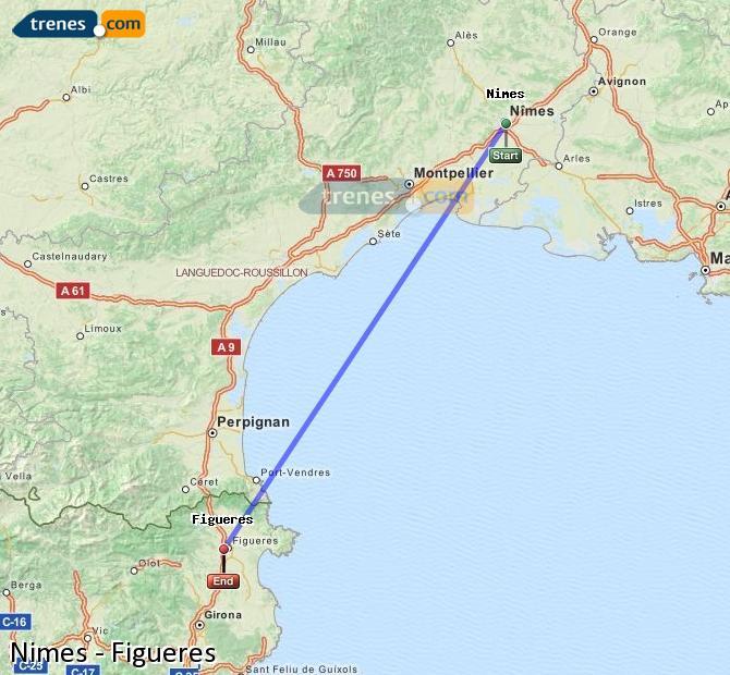 Agrandir la carte Trains Nimes Figueres