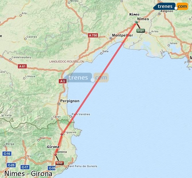 Ampliar mapa Comboios Nimes Girona
