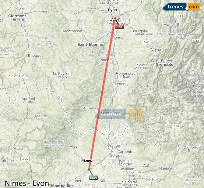 Agrandir la carte Trains Nimes Lyon