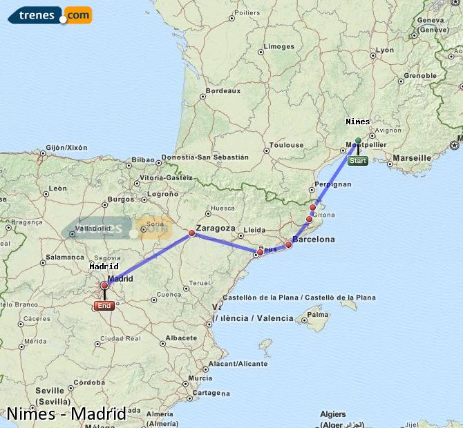Enlarge map Trains Nimes to Madrid
