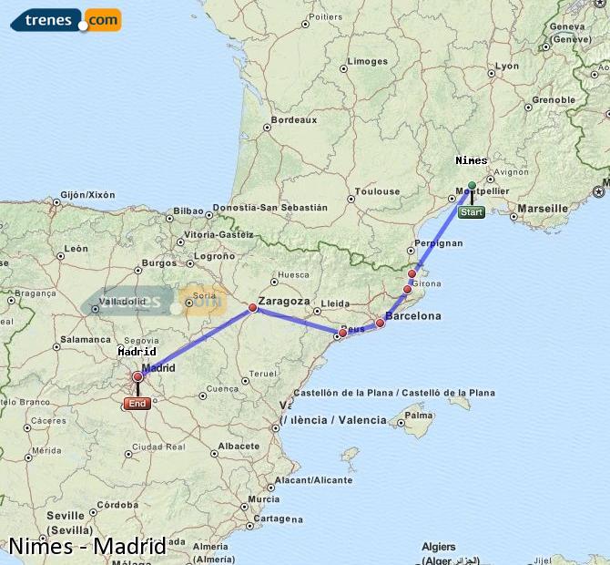 Agrandir la carte Trains Nimes Madrid